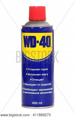 Novyy Urengoy, Russia - February 24, 2021: Bottle Of The Water-displacing Spray Wd-40 Isolated Over