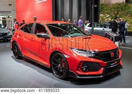 Frankfurt, Germany - Sep 11, 2019: New Honda Type-r Sports Car Model Showcased At The Frankfurt Iaa