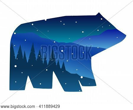 Vector Flat Illustration With Double Exposure: Winter Night Landscape In The Shape Of A Bear. A Silh