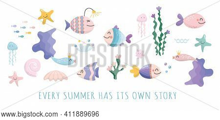 Sealife Cartoons Set. Cute Fish, Jellyfish, Star, Shell Characters Collection For Kids. Vector