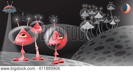 Fantastic Mushrooms, Moon, Shuttle And Other Planets In A Space. Vector Illustration.
