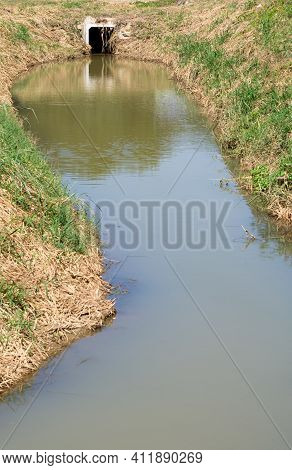 Drainage Channels From Reservoirs Irrigation With The Concrete Pipe For Supplying Water To Agricultu