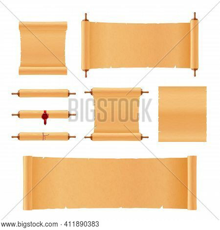 Set Of Scrolls Ancient Papyrus, Parchment And Old Paper A Vector Illustration