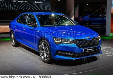 Frankfurt, Germany - Sep 11, 2019: New Skoda Superb Iv Car Reveiled At The Frankfurt Iaa Motor Show