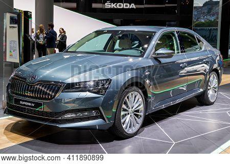Frankfurt, Germany - Sep 11, 2019: New 2020 Skoda Superb Iv Plug-in Hybrid Car Showcased At The Fran