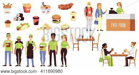 Set Of Fast Food Cafe Symbols And Characters Flat Vector Illustration Isolated.
