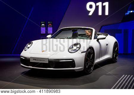 Frankfurt, Germany - Sep 11, 2019: Porsche 911 Carrera 4 Coupe Sports Car Showcased At The Frankfurt