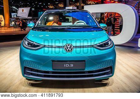 Frankfurt, Germany - Sep 11, 2019: Volkswagen Id.3 Electric Car Reveiled At The Frankfurt Iaa Motor