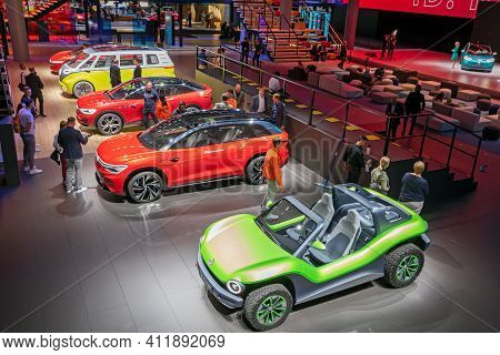 Frankfurt, Germany - Sep 11, 2019: View On The Volkswagen Stand And Cars Showcased At The Frankfurt
