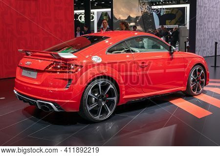 Frankfurt, Germany - Sep 11, 2019: Audi Tt Rs Coupe Tfsi S Tronic Sports Car Showcased At The Frankf