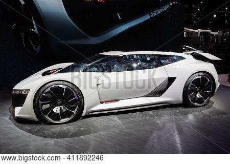 Frankfurt, Germany - Sep 10, 2019: Audi Pb 18 E-tron Electric Supercar Concept Car Showcased At The