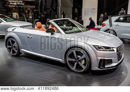 Frankfurt, Germany - Sep 11, 2019: Audi Tt 45 Tfsi Quattro Cabrio Sports Car Showcased At The Frankf