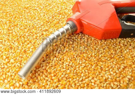 A Red Gas Pump Nozzle And Handle On A Pile Of Whole Kernel Corn To Represent Biofuel Concepts.