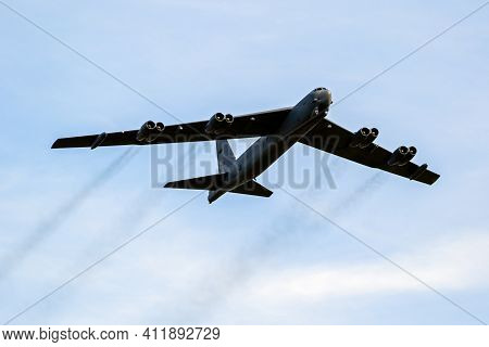 Sanicole, Belgium - Sep 13, 2019: Us Air Force Boeing B-52 Stratofortress Bomer Plane Performing A L