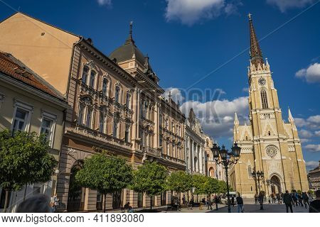 Novi Sad, Serbia - October 19, 2020: View At Name Of Mary Church In Novi Sad, Serbia. It Is An Roman