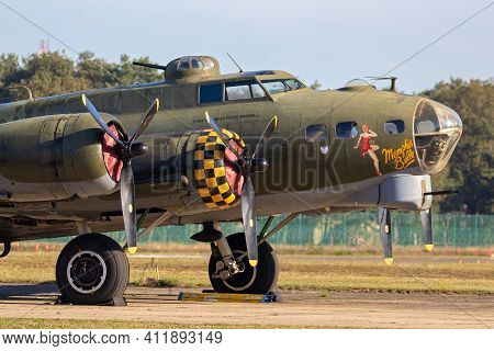 Kleine-brogel, Belgium - Sep 14, 2019: Boeing B-17 Flying Fortress Us Air Force Ww2 Bomber Plane Ont