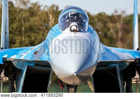 Kleine Brogel, Belgium - Sep 14, 2019: Close Up Of A Pilot In The Cocpit Of A Sukhoi Su-27 Flanker F