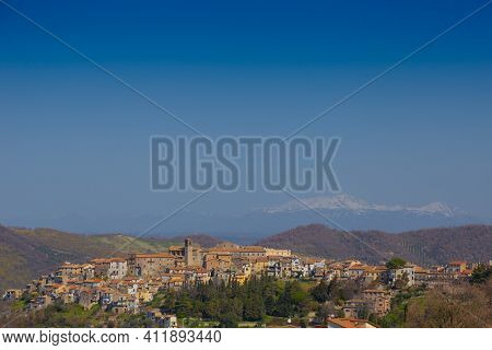 View Of The Town Of Scandriglia In The Province Of Rieti, With The Bell Tower.