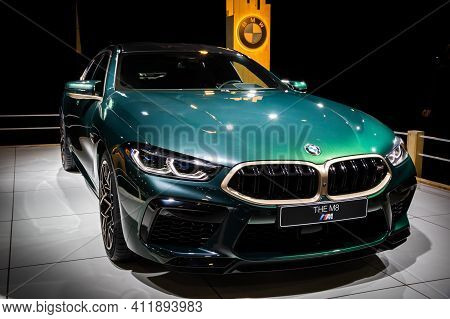 Brussels - Jan 9, 2020: Bmw M8 Competition Gran Coupe Sports Car Showcased At The Brussels Autosalon