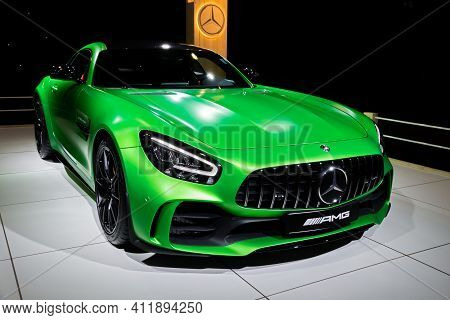 Brussels - Jan 9, 2020: Mercedes-amg Gt R Coupe Sports Car Showcased At The Brussels Autosalon 2020