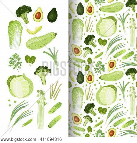 Set Of Vegetables. Chinese-cabbage, White-cabbage, Squash, Green Leek, Green Onion, Tats, Asparagus,