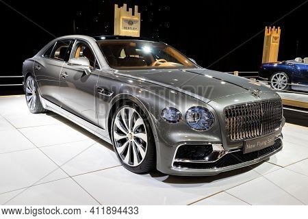 Brussels - Jan 9, 2020: New Bentley Flying Spur Luxury Car Model Showcased At The Brussels Autosalon