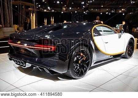 Brussels - Jan 9, 2020: Bugatti Chiron Sport Sports Car Showcased At The Brussels Autosalon 2020 Mot