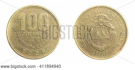 Costa Rica One Hundred Colones Coin On A White Isolated Background
