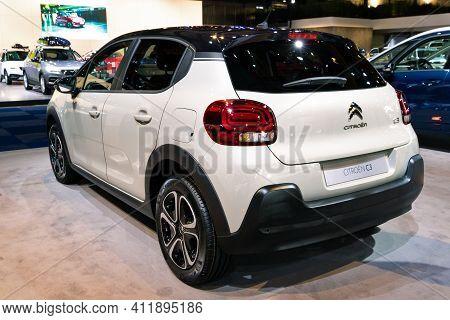 Brussels - Jan 9, 2020: Citroen C3 Origins Car Showcased At The Brussels Autosalon 2020 Motor Show.