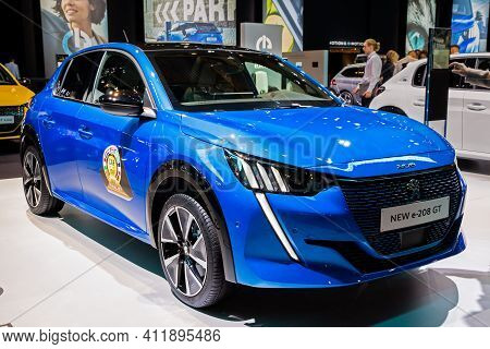 Brussels - Jan 9, 2020: New 2020 Peugeot E-208 Gt Electric Car Model Presented At The Brussels Autos