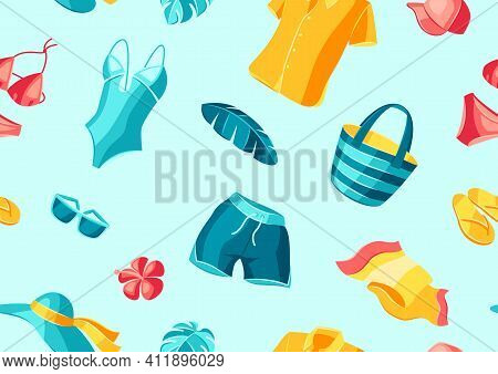 Seamless Pattern With Beachwear And Swimwear. Summer Clothes And Accessories. Seasonal Sale Or Fashi