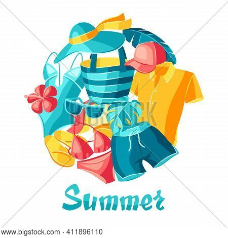 Background With Beachwear And Swimwear. Summer Clothes And Accessories. Seasonal Sale Or Fashion Ill