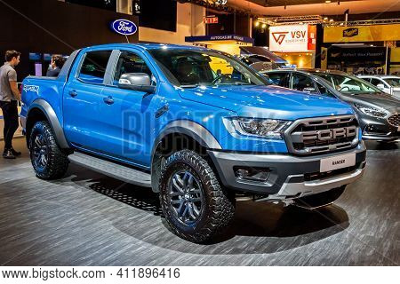 Brussels - Jan 9, 2020: Ford Ranger Raptor Super Pick-up Truck Presented At The Brussels Autosalon 2