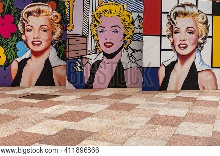 Andorra La Vella, Andorra - 7 March, 2021: A Marilyn Monroe Triptych Print In The City Center Of And