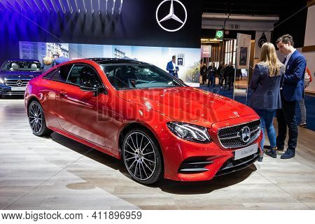 Brussels - Jan 9, 2020: New Mercedes E-class Coupe Car Model Presented At The Brussels Autosalon 202