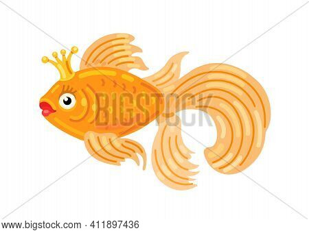 Beautiful Goldfish With A Crown On A White Background. Icon. Vector Flat Illustration