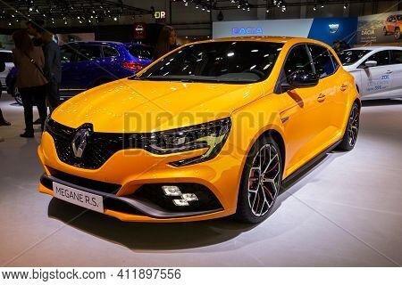 Brussels - Jan 9, 2020: New Renault Megane Rs Car Model Showcased At The Brussels Autosalon 2020 Mot