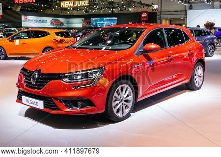 Brussels - Jan 9, 2020: New Renault Megane Car Model Showcased At The Brussels Autosalon 2020 Motor