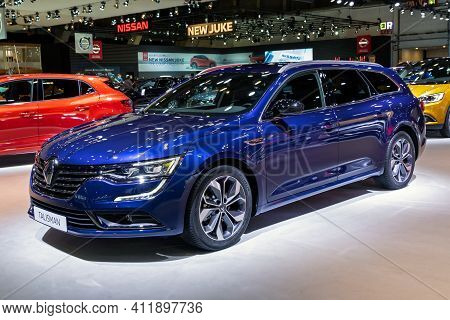 Brussels - Jan 9, 2020: New Renault Talisman Wagon Car Model Presented At The Brussels Autosalon 202