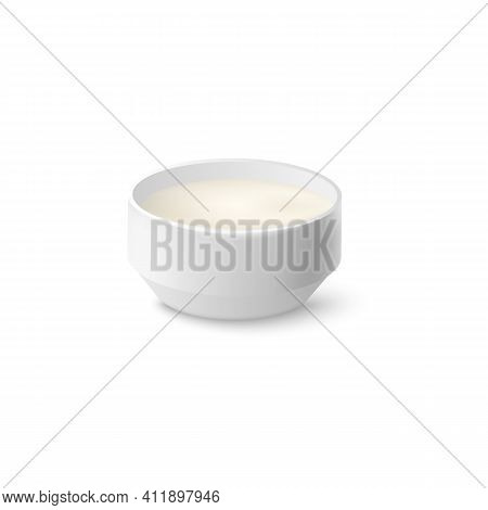 Sour Cream White Creamy Sauce In Saucer, Realistic Vector Illustration Isolated.