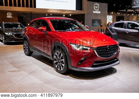Brussels - Jan 9, 2020: New Mazda Cx-3 Car Model Showcased At The Brussels Autosalon 2020 Motor Show