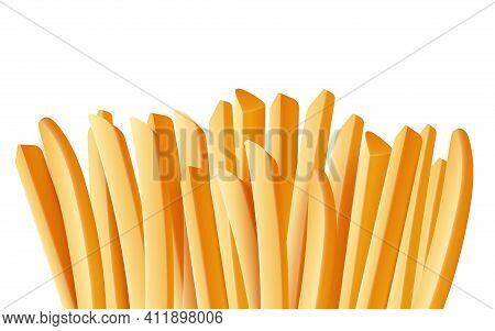 Salty Tasty French Fries, Delicious Potato Sticks, Fast Food Snack.