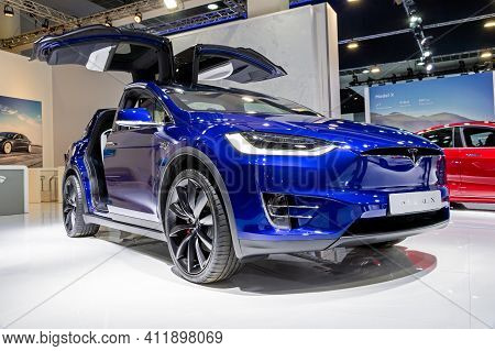 Brussels - Jan 9, 2020: Tesla Model X Electric Car Presented At The Brussels Autosalon 2020 Motor Sh