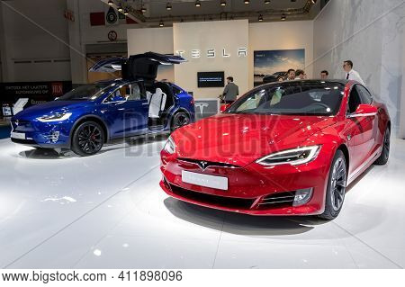 Brussels - Jan 9, 2020: Tesla Model S And Model X Electric Cars Presented At The Brussels Autosalon