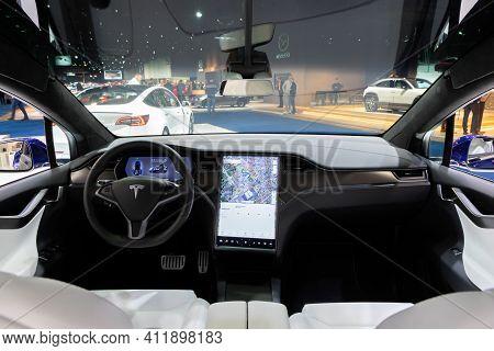 Brussels - Jan 9, 2020: Tesla Model X Car Model Interior Dashboard View Showcased At The Brussels Au