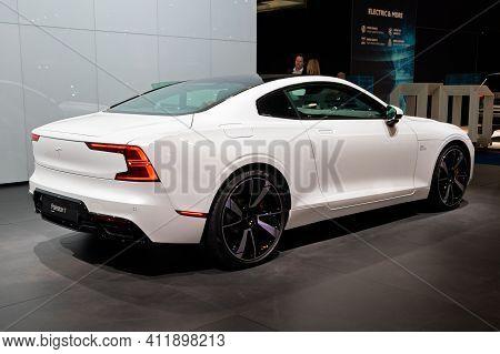Brussels - Jan 9, 2020: Polestar 1 Hybrid Sports Car Showcased At The Brussels Autosalon 2020 Motor