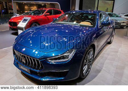 Brussels - Jan 9, 2020: Maserati Ghibli Car Showcased At The Brussels Autosalon 2020 Motor Show.