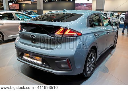 Brussels - Jan 9, 2020: New Hyundai Ioniq Electric Car Model Showcased At The Brussels Autosalon 202