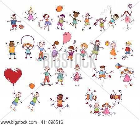 Cartoon Set Or Collection Of Many Multiethnic Cute Smiling Children Playing And Jumping. Funny Activ