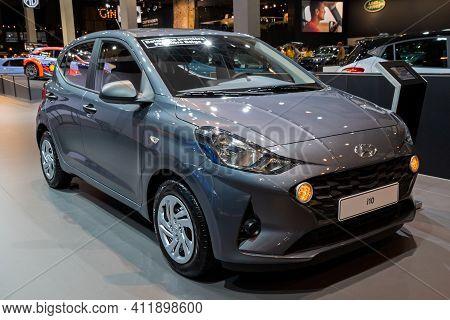 Brussels - Jan 9, 2020: Hyundai I10 Car Model Showcased At The Brussels Autosalon 2020 Motor Show.